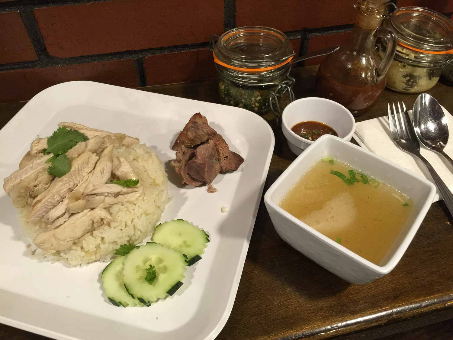 Hainanese chicken by way of Thailand. Gizzards optional. So simple but so good! $9.