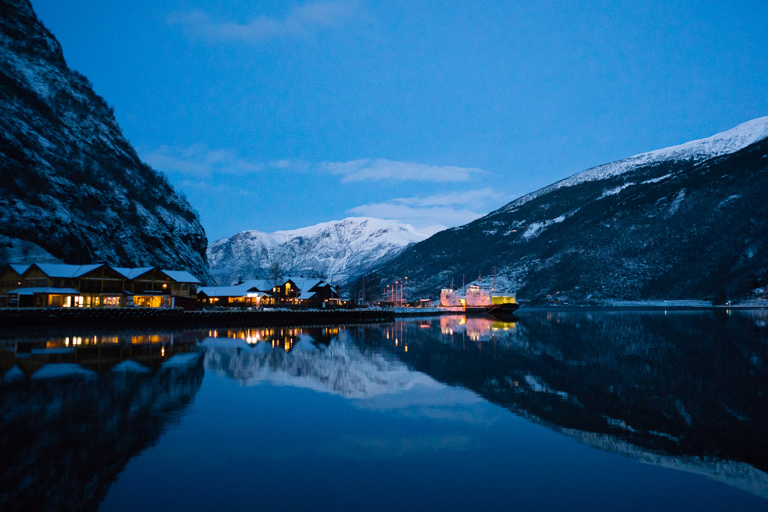 The charming village of Flåm, nestled in the snow covered fjord