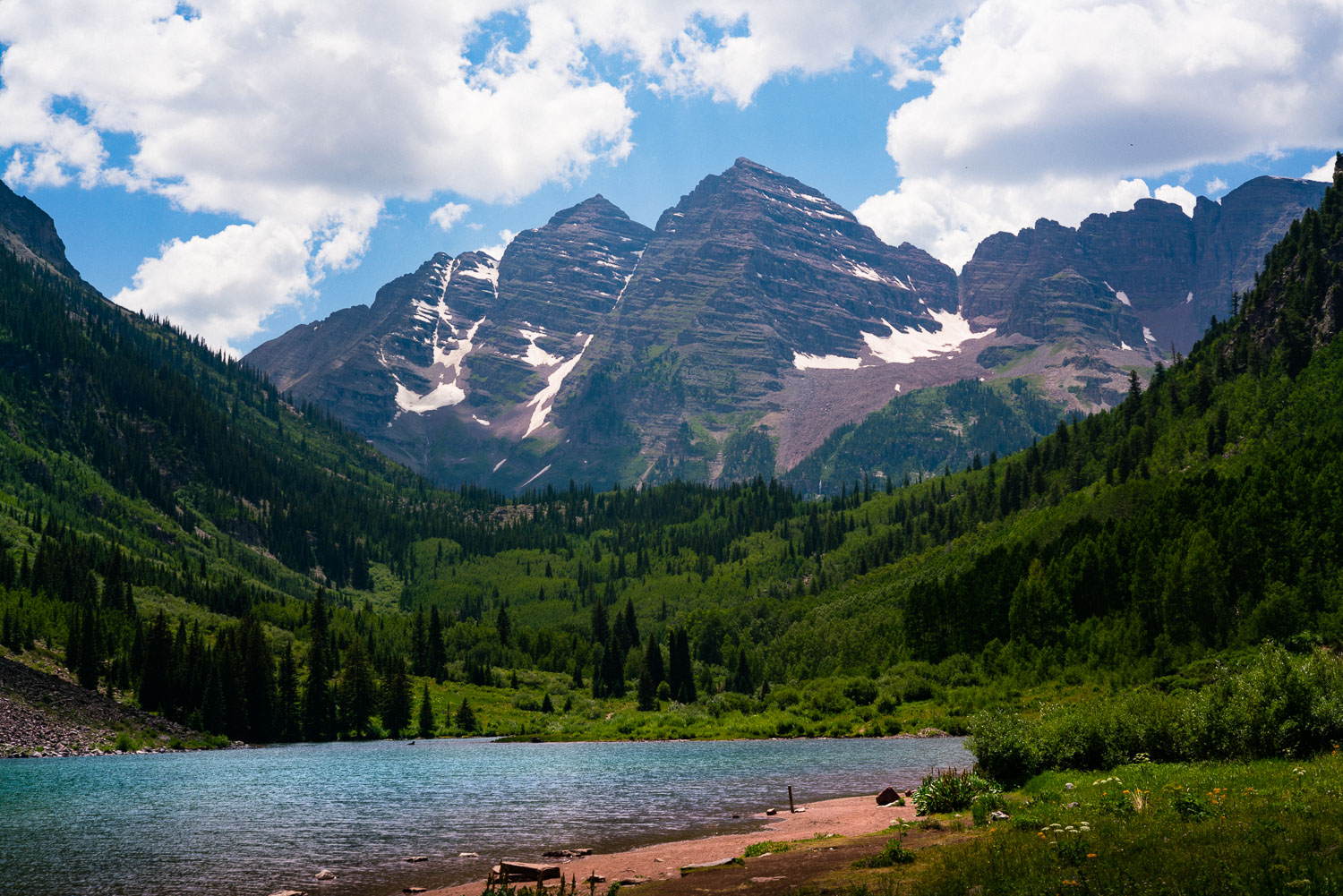 The stunning Maroon Bells! 14,000 footers. Very tall mountains but still only half the height of K2 in the Himalayas.