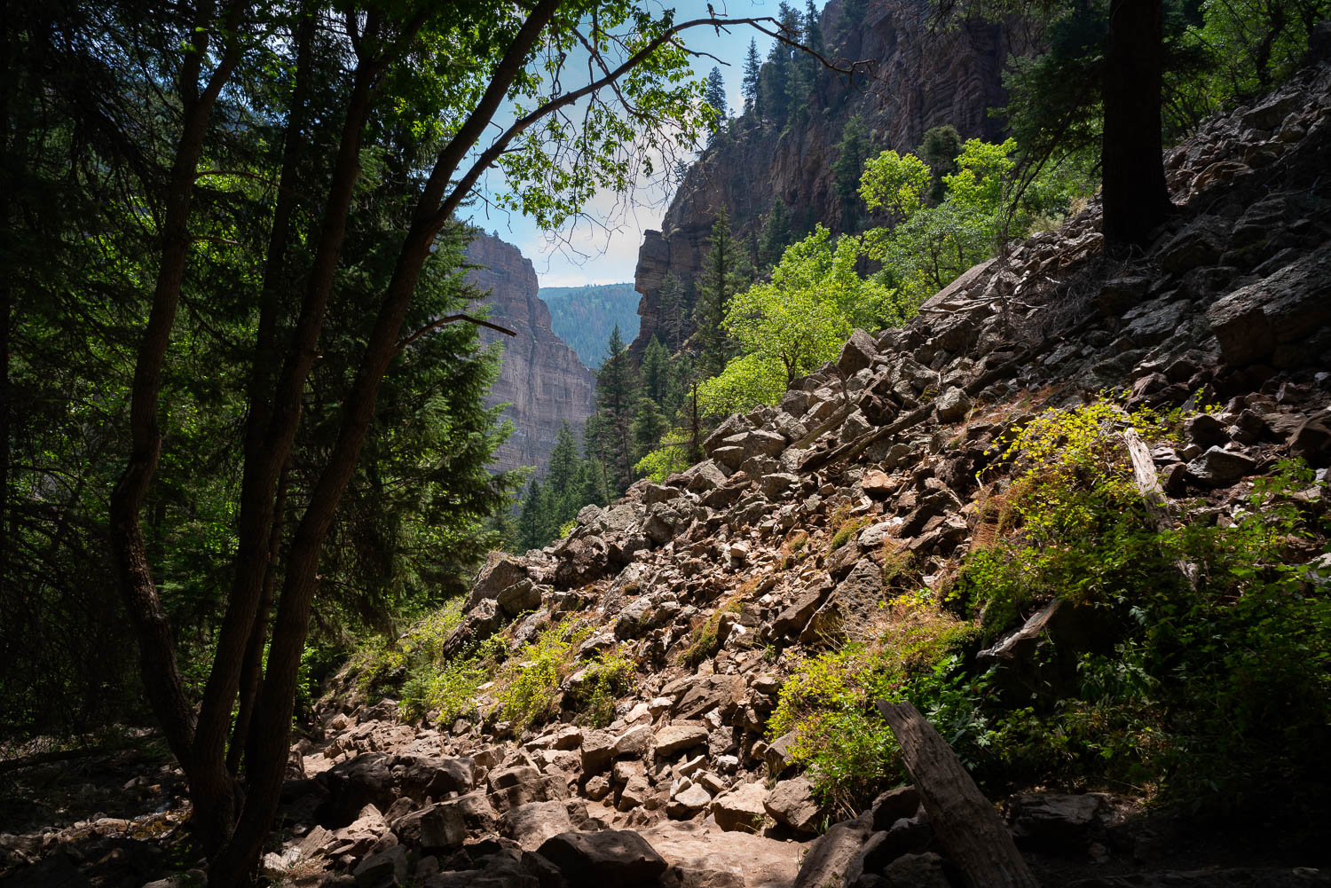The hike up to Hanging Lake, Glenwood Canyon.