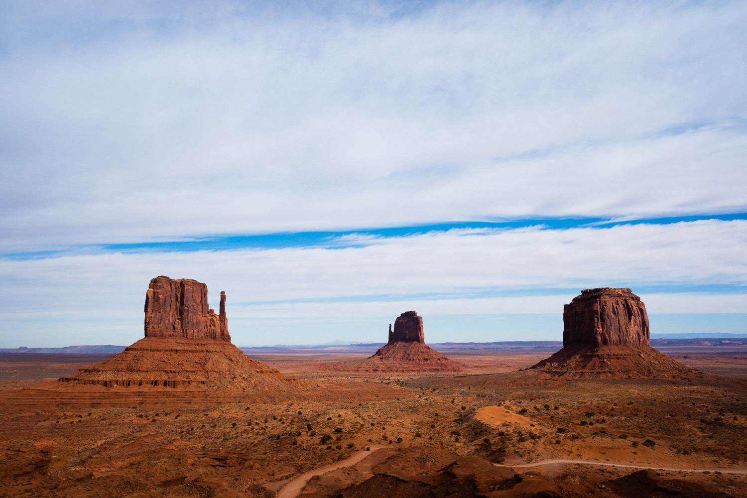 Monument Valley, first view you see upon entrance. The three most famous mesas, or buttes technically which are just small mesas—West Mitten Butte, East Mitten Butte, and Merrick Butte. It only get betters from here.