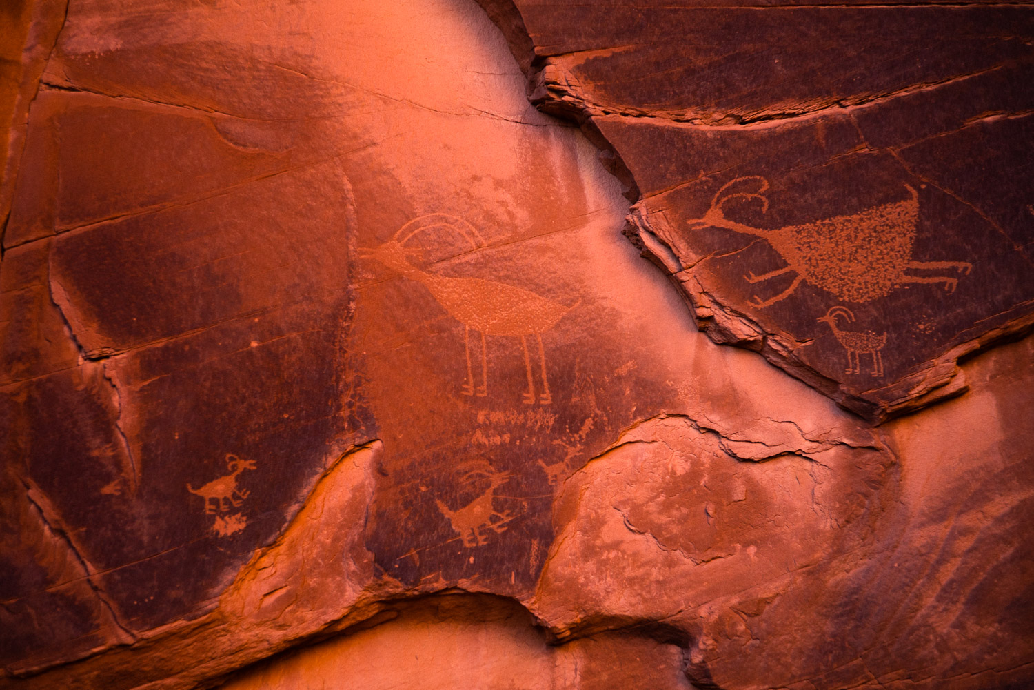 Ancient petroglyphs carved into the rock face of the Big Hogan.