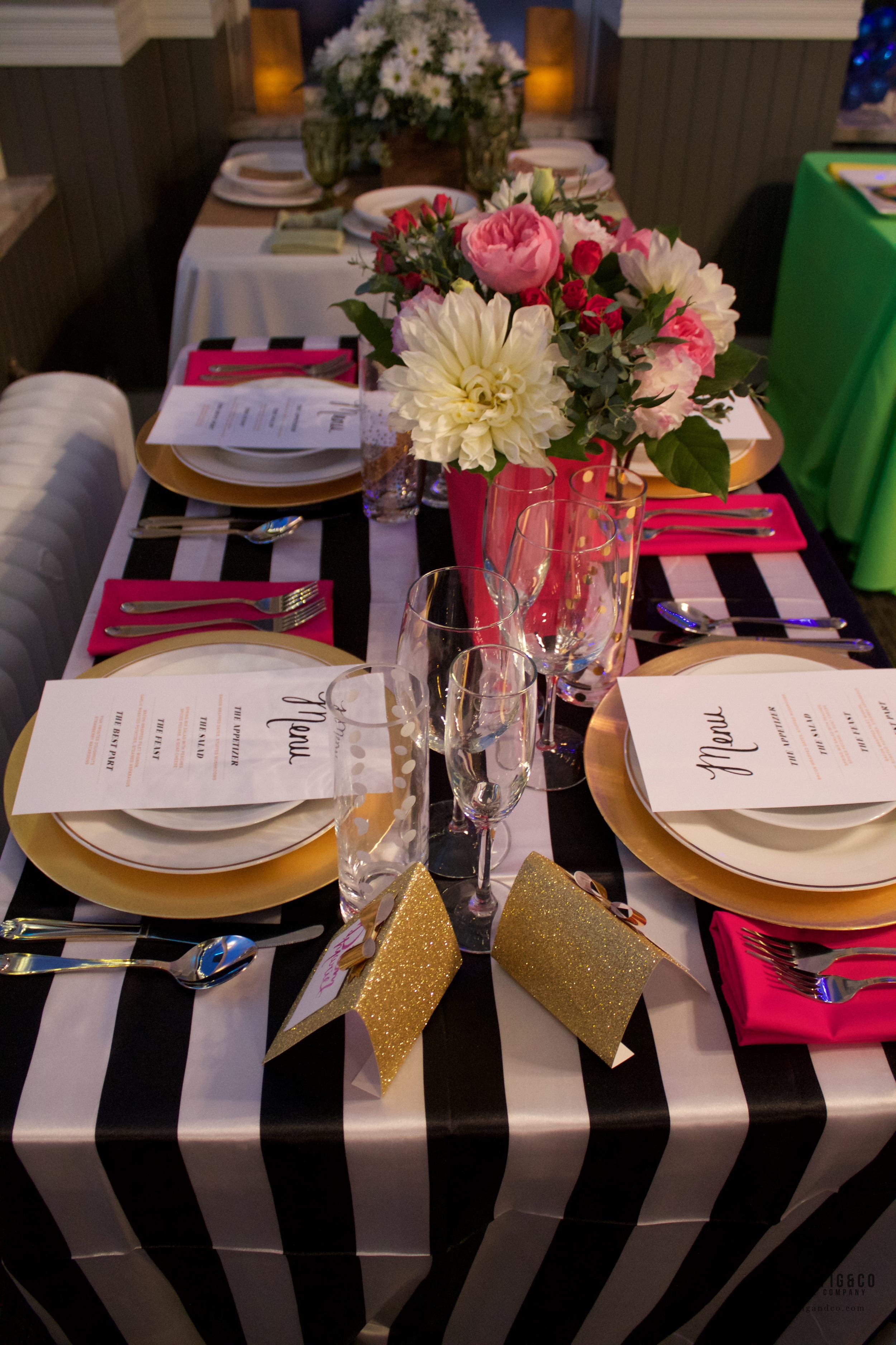 Kate Spade Themed Wedding Table. Menu's designed and place cards painted by O+F.