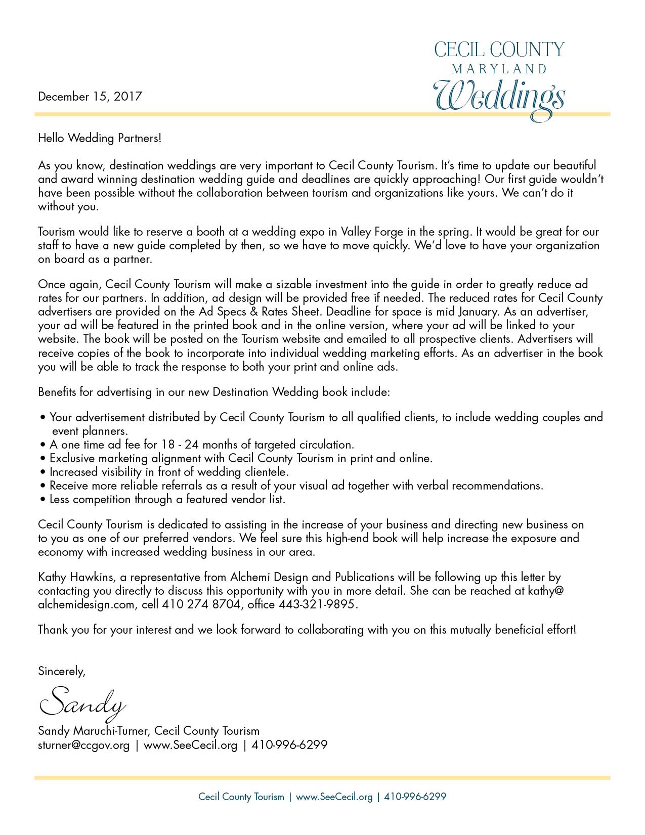 Letter from Sandy Maruchi-Turner