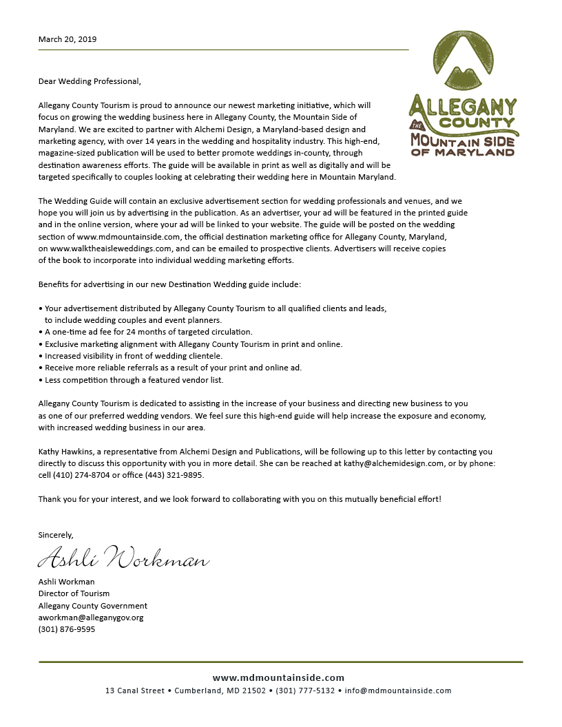 Letter from Ashli Workman, Director of Tourism