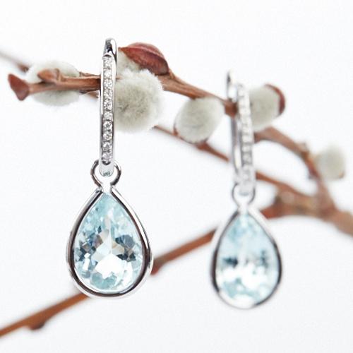 Diamond Pear Shaped Aqua Drop - Removable