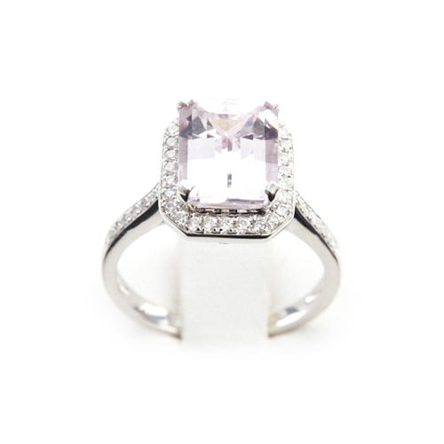 3.56 ct Emerald Cut Kunzite and Diamond Surround