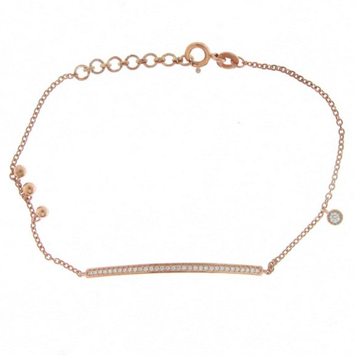 Rose Gold Grain Set Tennis Bracelet