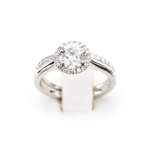1 ct Round Brilliant with Macro Pavé Halo of Diamonds