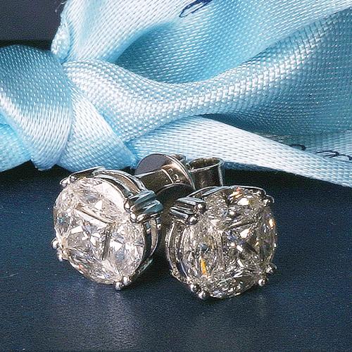 Diamond Studs - 4 Marquise Diamonds hug a centre Princess Cut