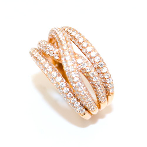 Rose Gold Multi Diamond Strand Ring