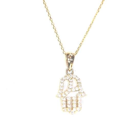 9ct Yellow Gold pavé set diamond Hamsa Hand