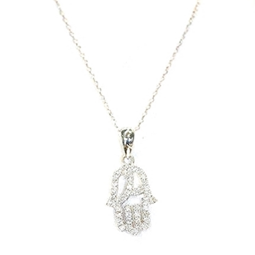 9ct White Gold & pavé set diamond Hamsa Hand