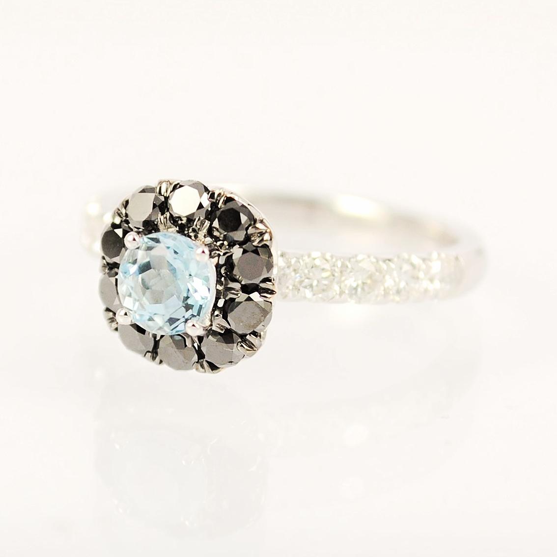Round Aquamarine halo set with black diamonds & white round brilliant diamonds on band
