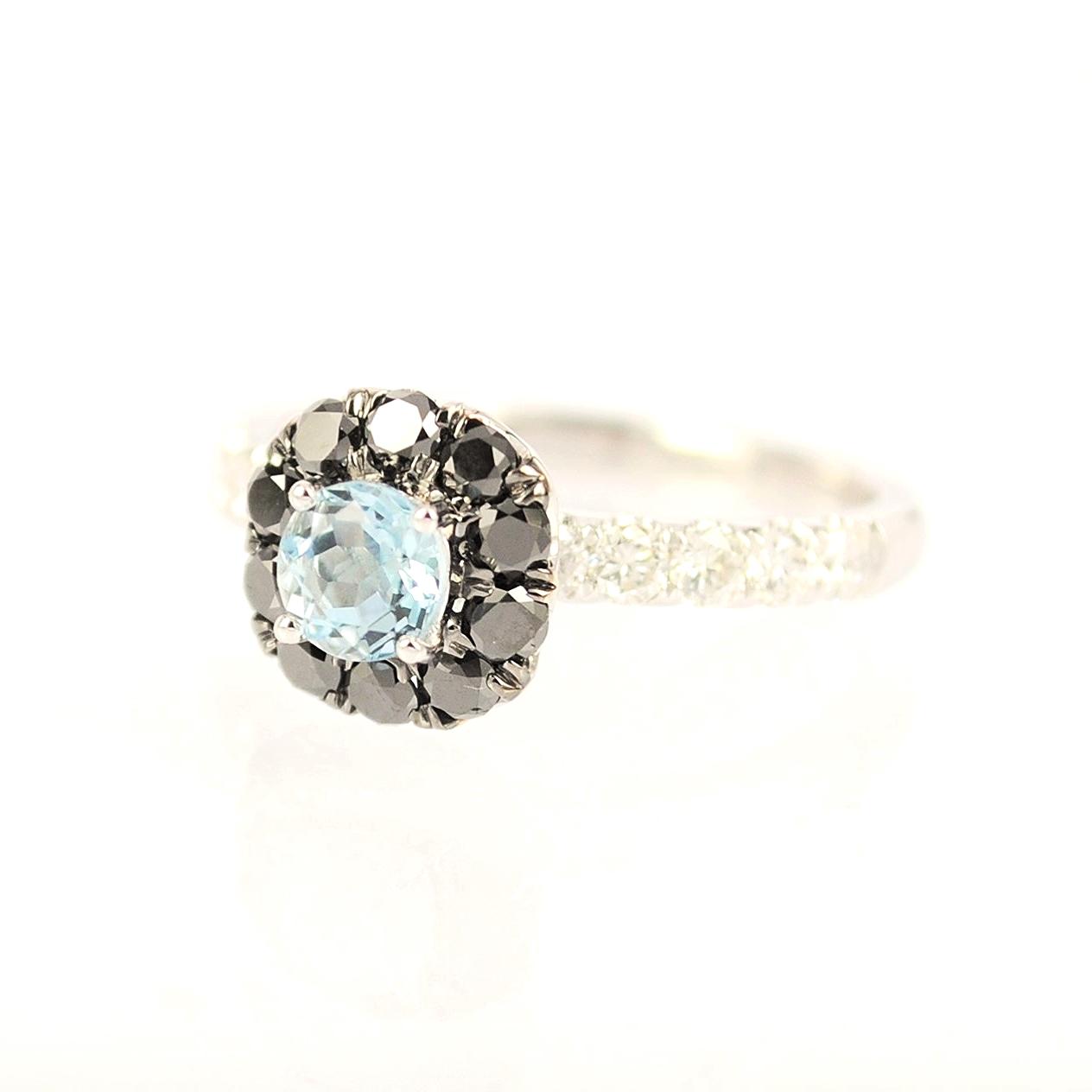 Round Aquamarine and Black dia ring.JPG
