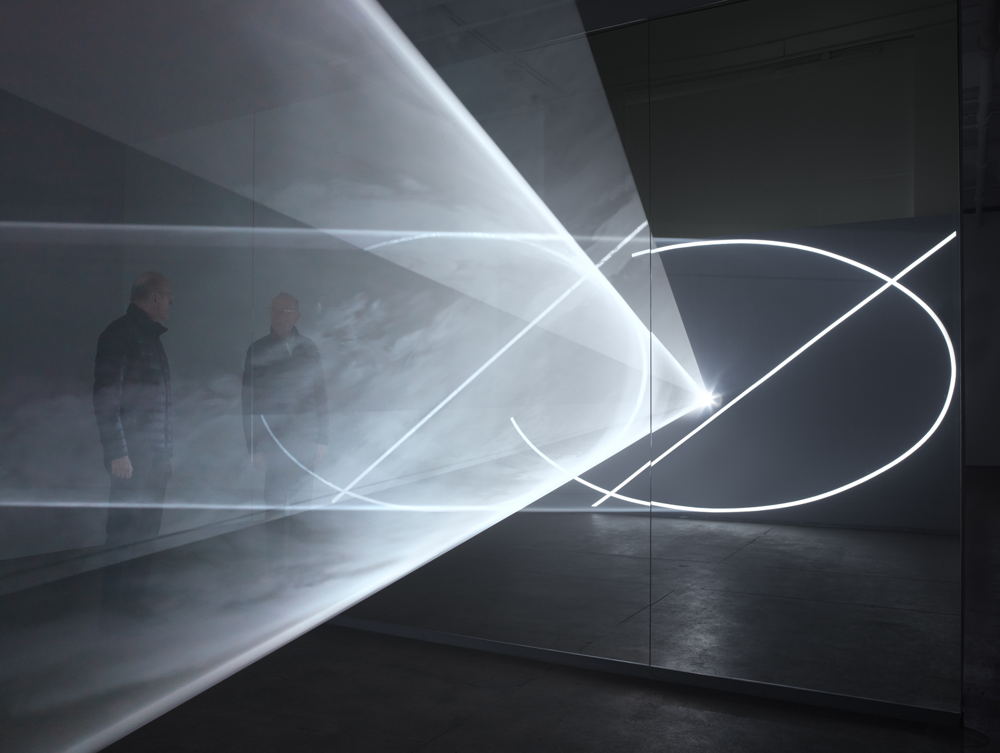 Anthony McCall at Sean Kelly Gallery with his work  Split Second (Mirror) , New York, 2019. Photograph by Dan Bradica.