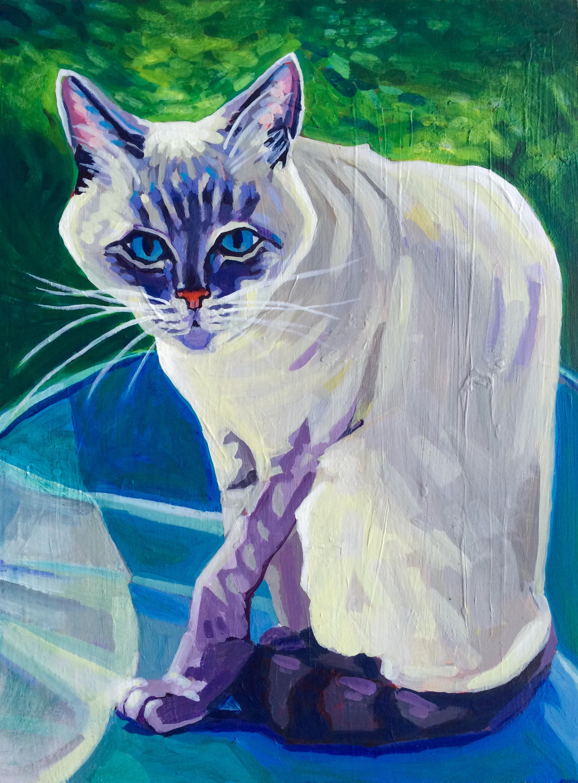 "Kitty  9""x12"" Acrylic on panel Sold"