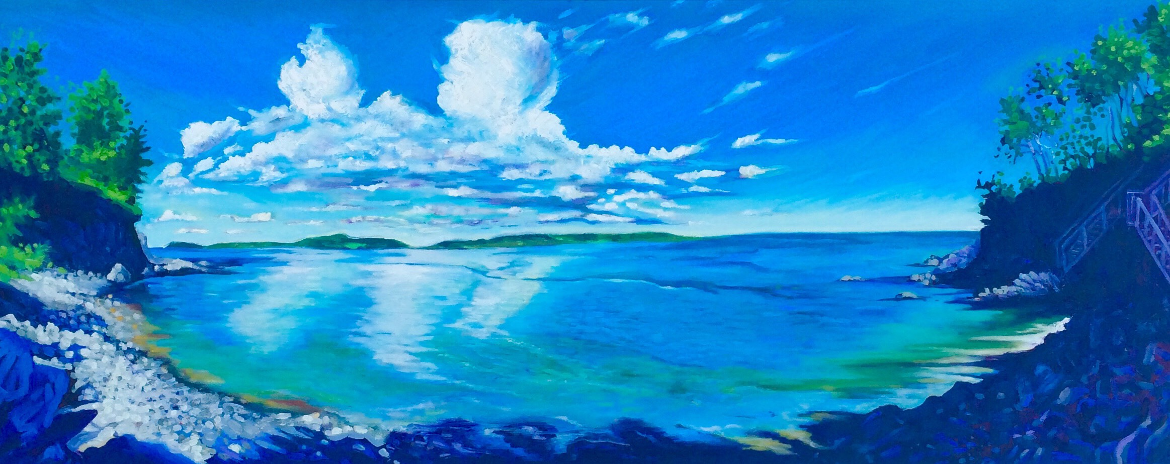 """Sea View . 15""""x40"""" . Oil on canvas .Sold"""