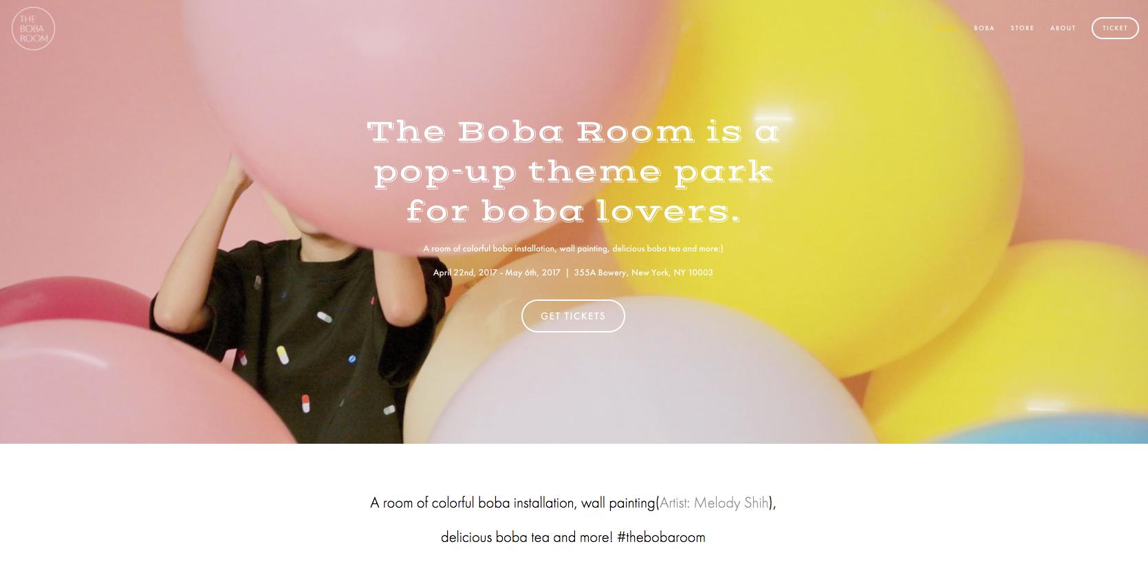 The Boba Room website