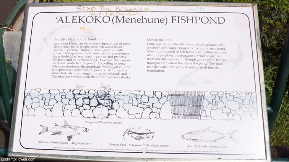'Alekoko Fishpond Sign - Look Into Hawai'i