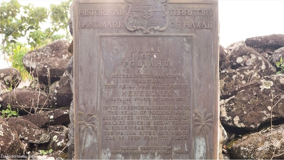 Historical Landmark about Menehune at the Heiau of Poliahu - Look Into Hawai'i