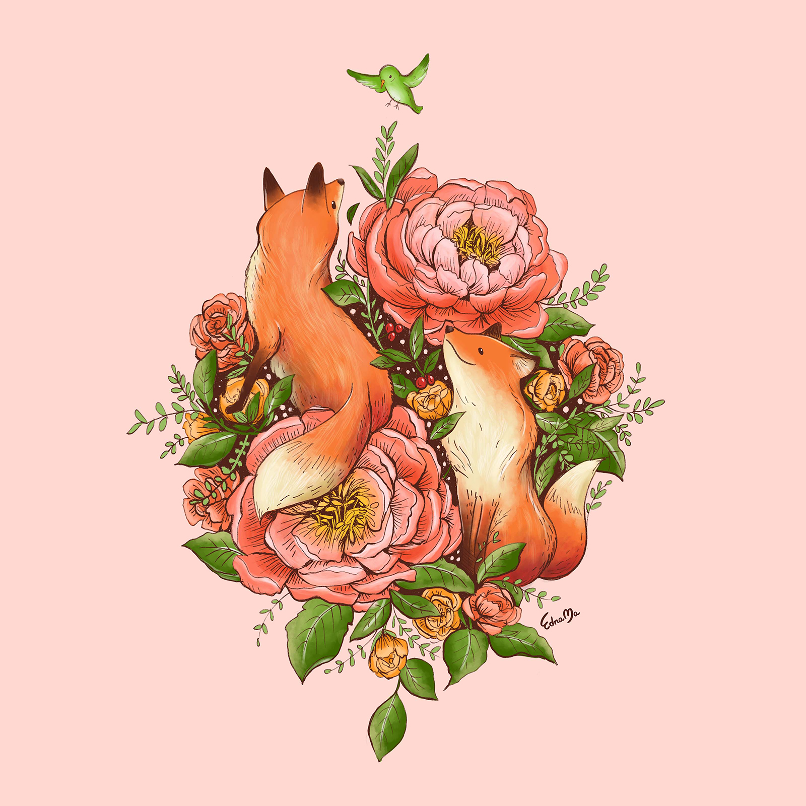 Edna Ma - The Red Foxes and Coral Sunset Peonies.jpg