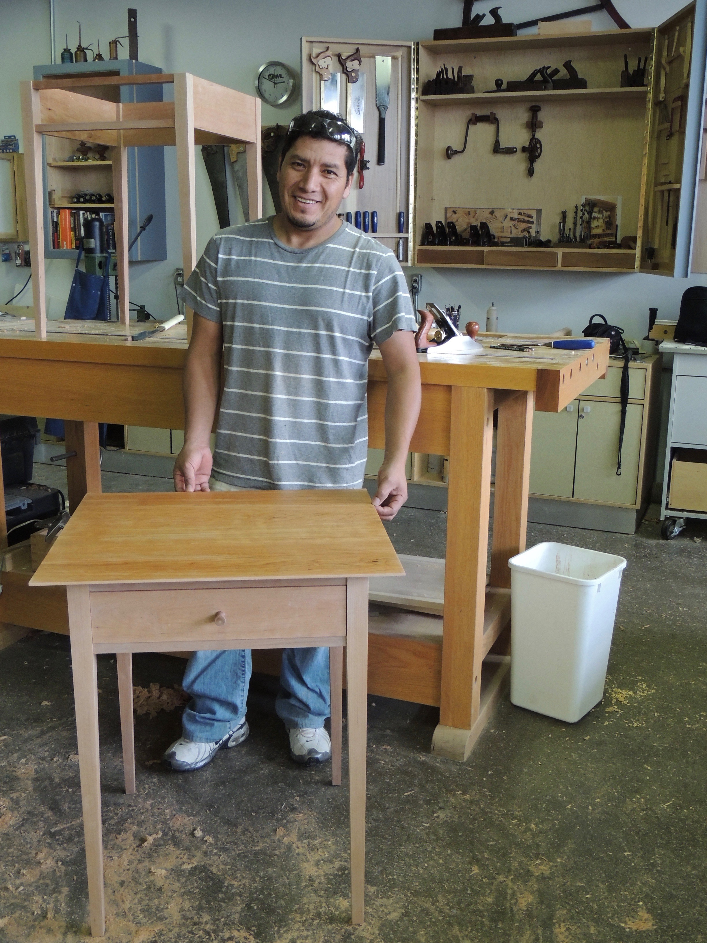 A proud student and his table, at the end of the Shaker Side Table class