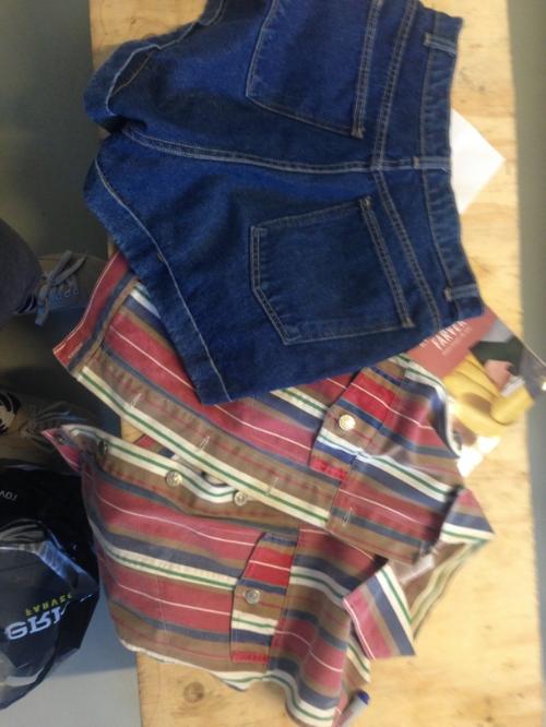 Denim Deconstruction pre-construction: shorts, pants, and a vest.