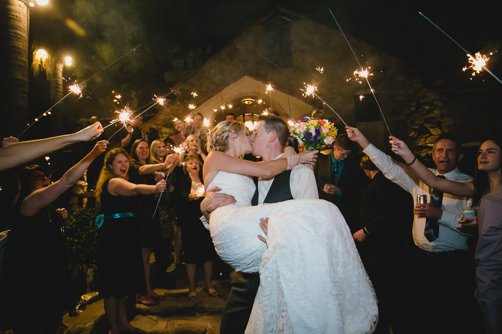 Sparklers send off at Mount Woodson Castle wedding photography by LEAF