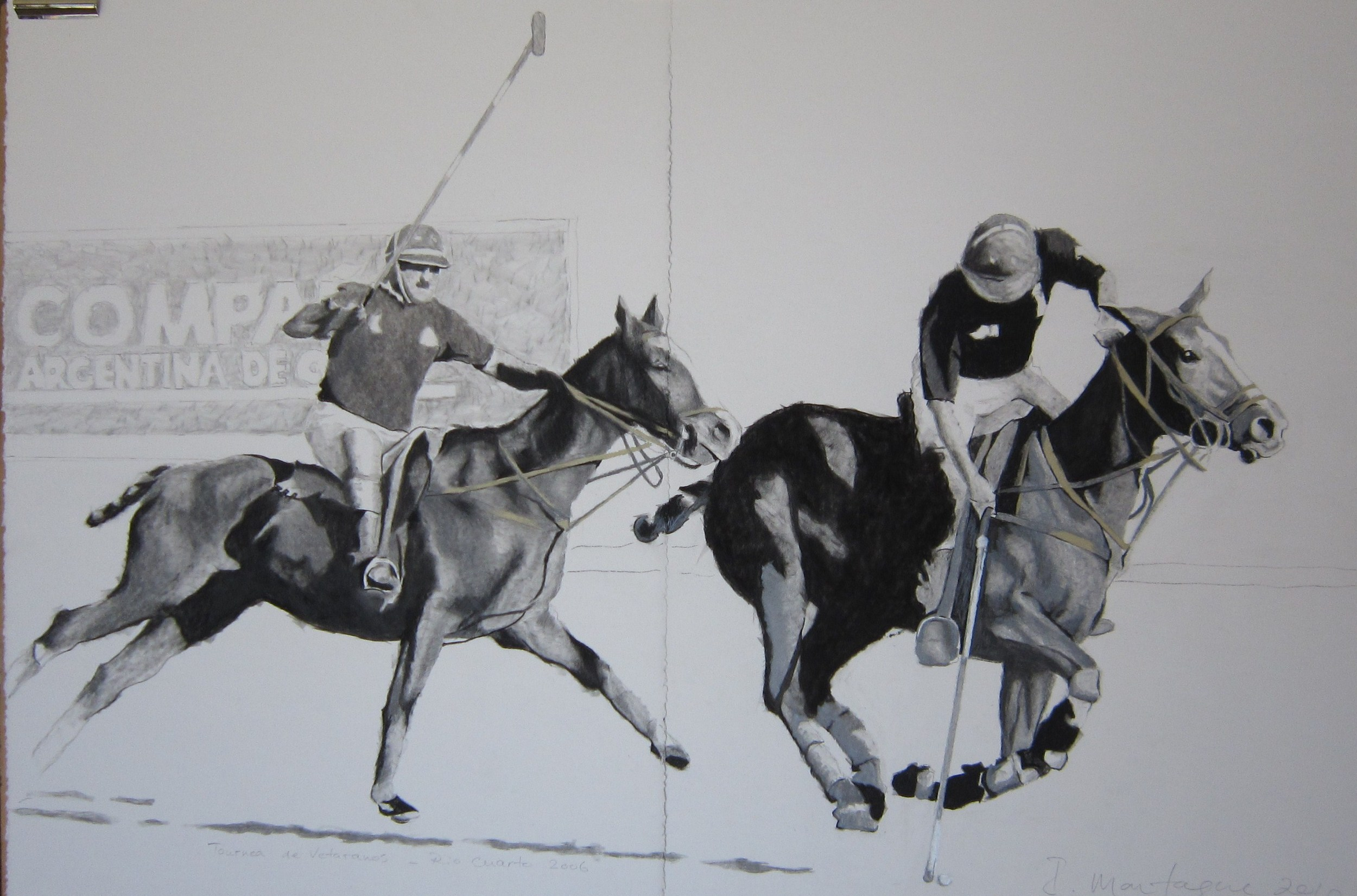 Veteran Polo, Argentina.   Charcoal on rag-paper. 56 x 140 cm.  ©  2012 Ida Montague. Private Collection, Toowoomba