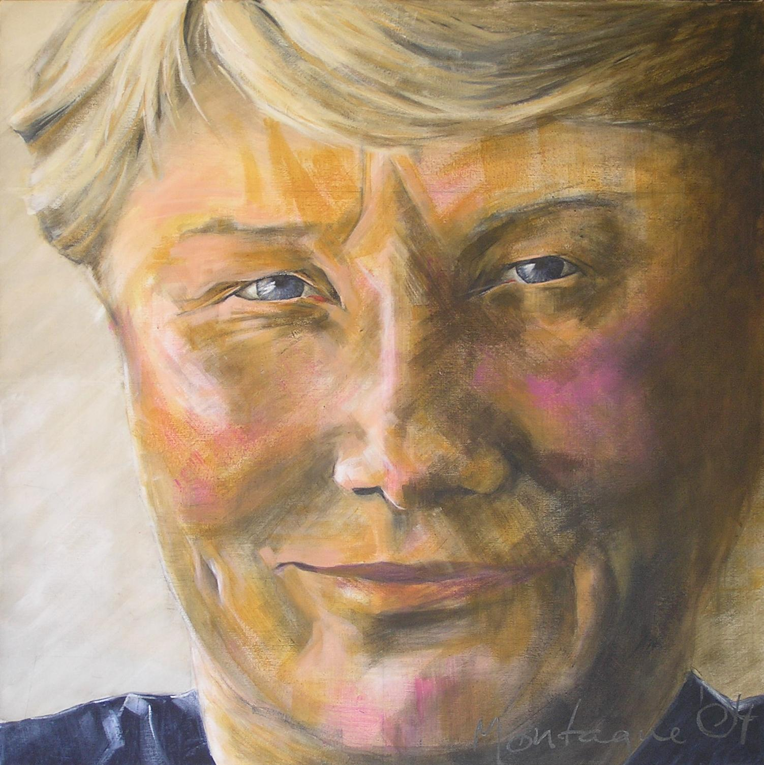 Raelene Boyle AM, MBE. Olympian and National Treasure  . Acrylic polymer on canvas. 80 x 80cm (1 of Triptych).  ©  2004 Ida Montague  2004 Archibald Portrait Prize Competition Entry
