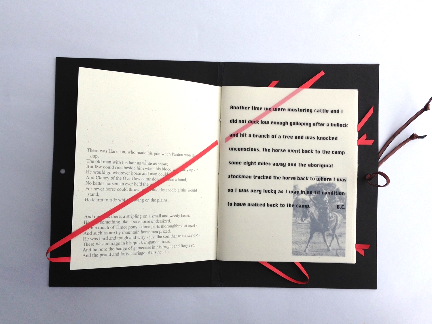 The Man From Snowy River - Revisited.  Artists Book. 2000 © Ida Montague  The red line in and out through the pages illustrates the 'The Ride' as described in A.B. Patterson's poem of the same title.
