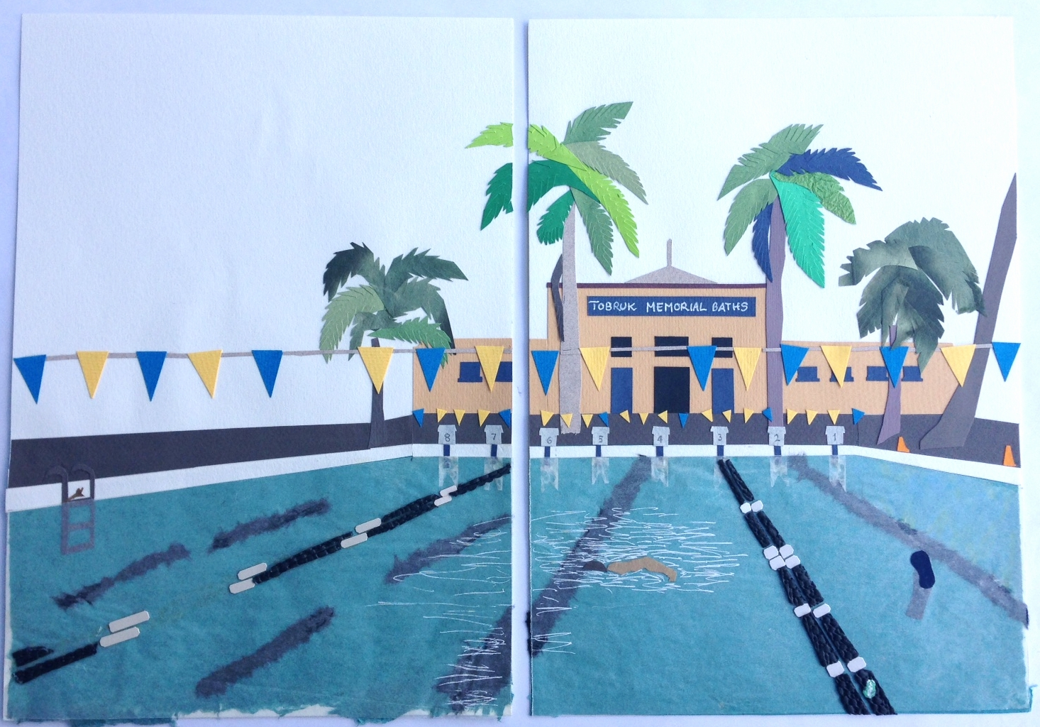 At My House . Paper cuts andoriginal collage for children'sbook illustration.2001 © Ida Montague  PIctured: Tobruk Pool, Townsville, North Queensland.