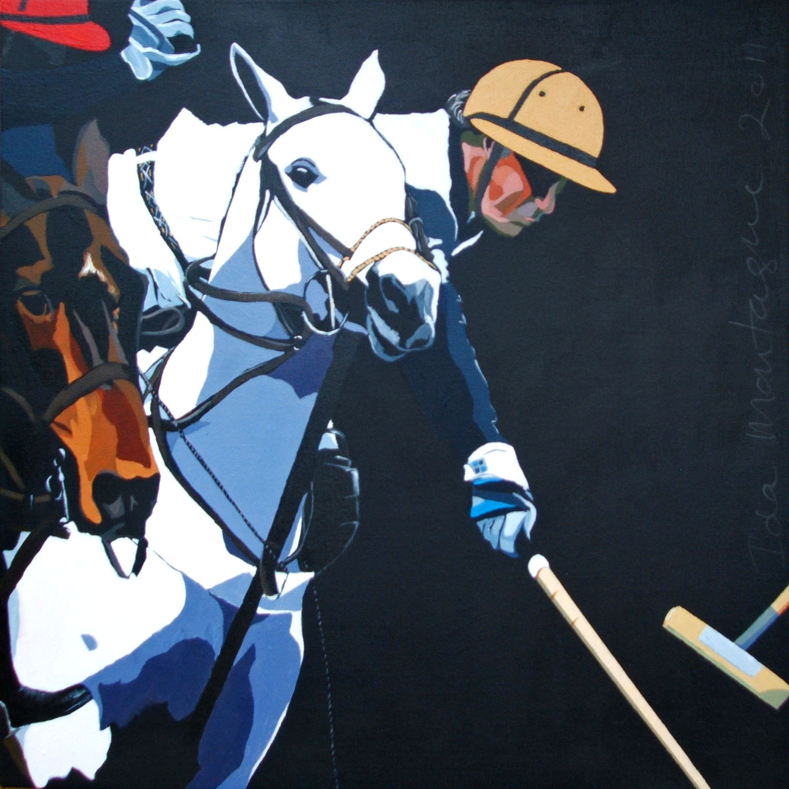 From the series:   Polo Up Close and Personal    (no 4)   .   Acrylic on Canvas, 65 x 65 cm © 2011 Ida Montague. Corporate Collection: Brisbane