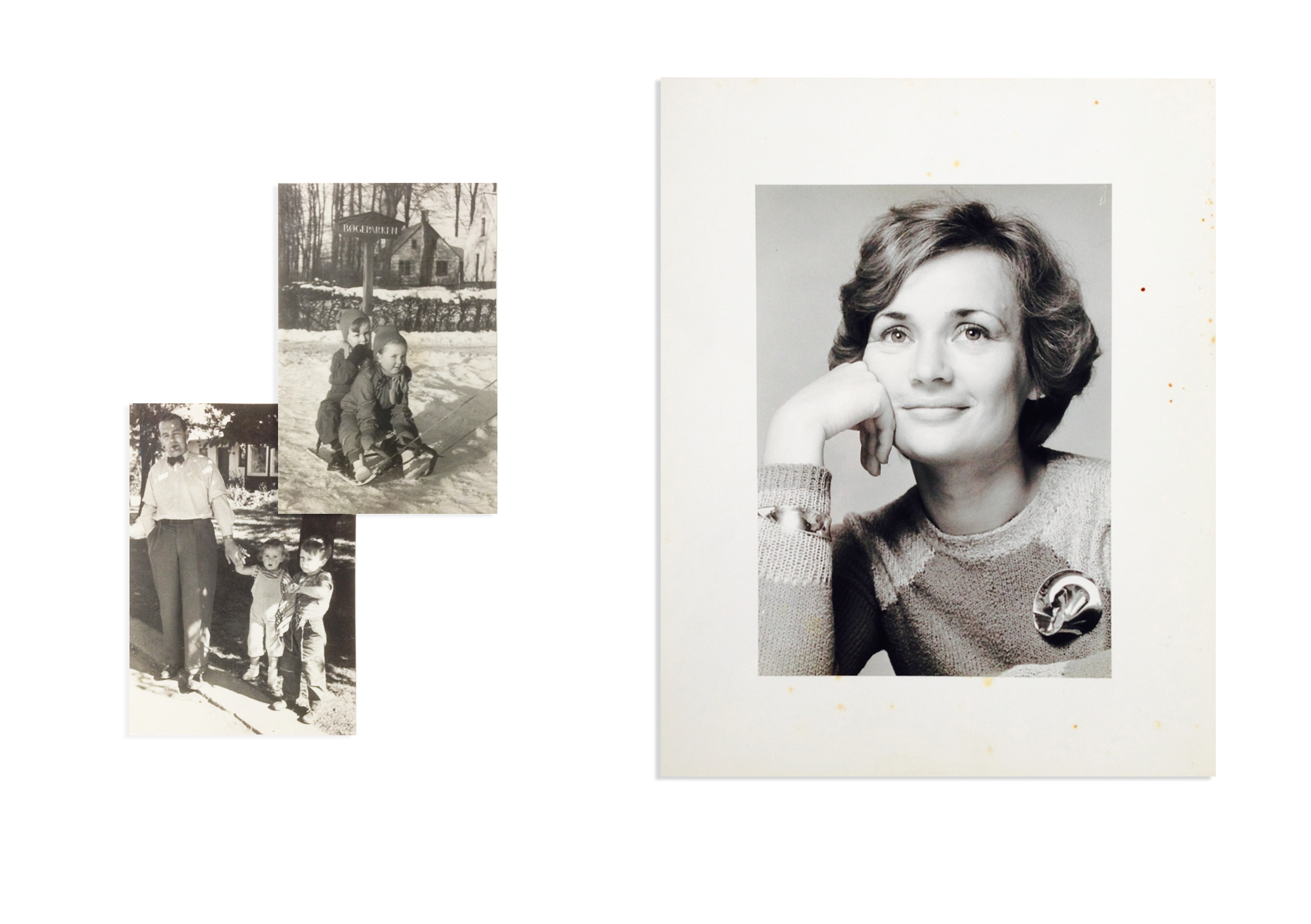 Scandinavian heritage.  Left: From the land of Hans Christian Anderson's fairytales,my idyllic childhood in Denmark, shown here together with my father and older brother Ole.   Right: Caught candidly, a portrait from my early career with Georg Jensen (Danish Silversmiths) in Sydney.