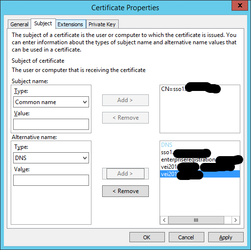 Certificate request properties 2012 R2