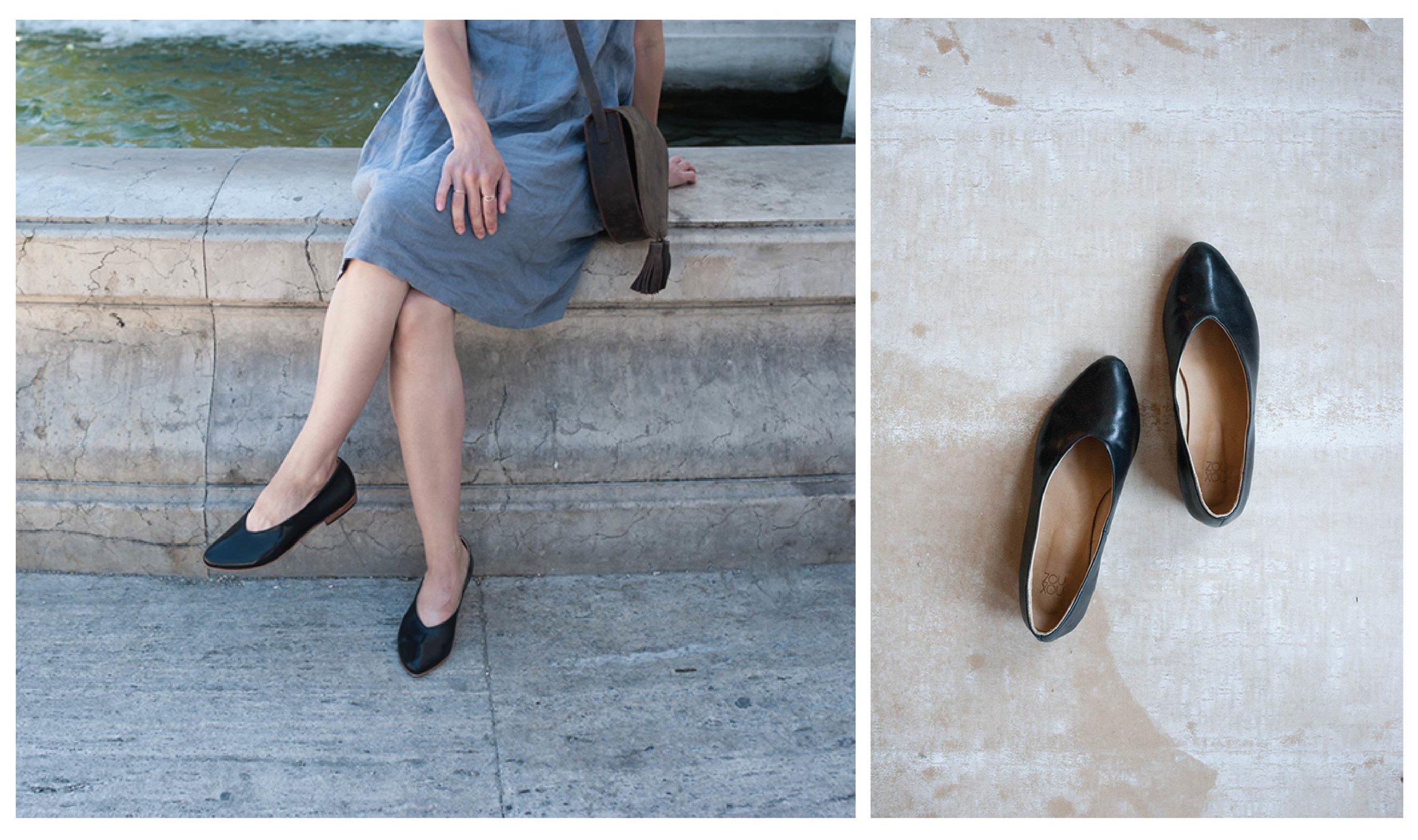 Emily Anne Szabo in Italy with Zou Xou Glove Flat in Black Glaze