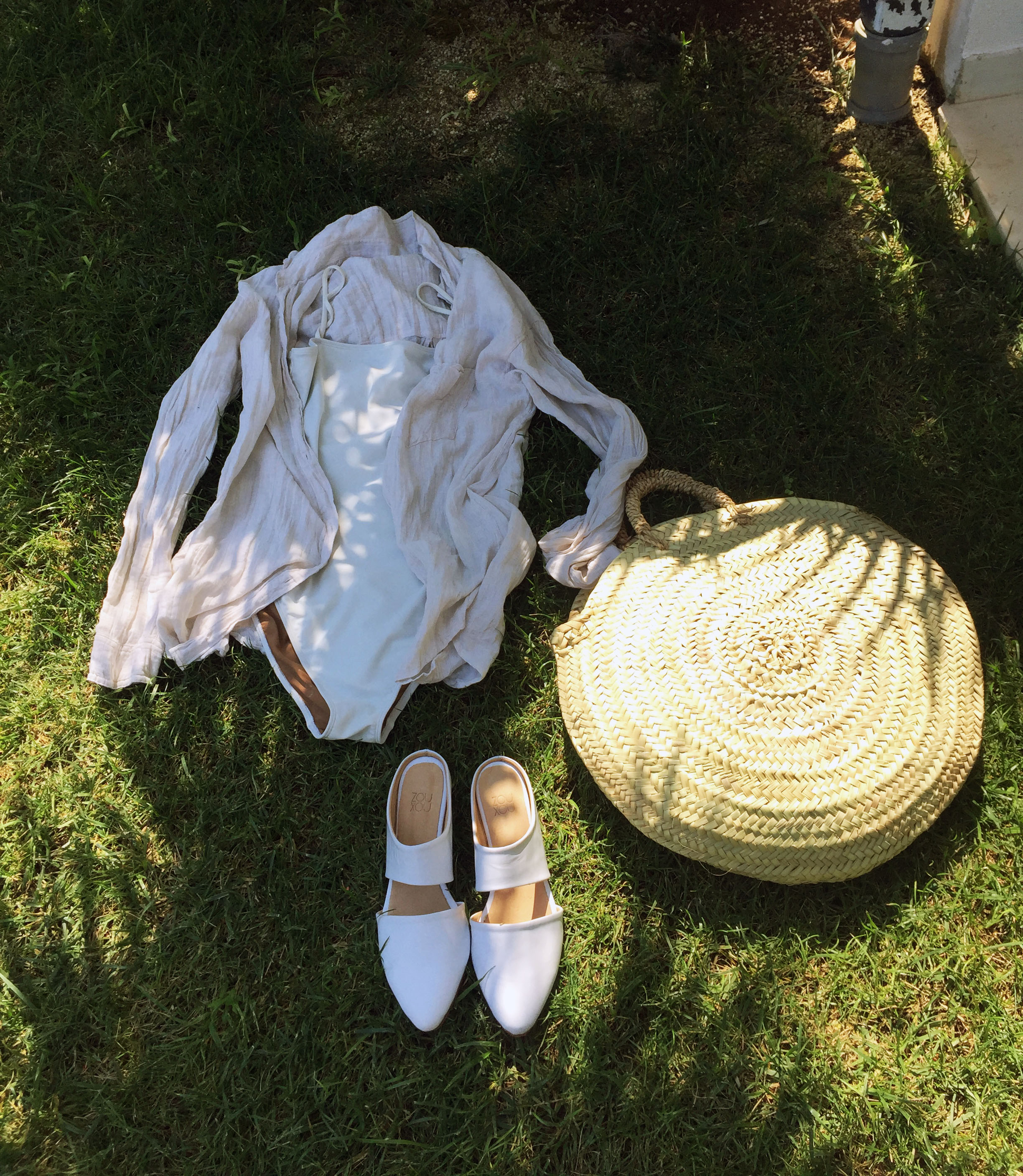 zou xou mule in white styled with artizia nuswim lisa says gah