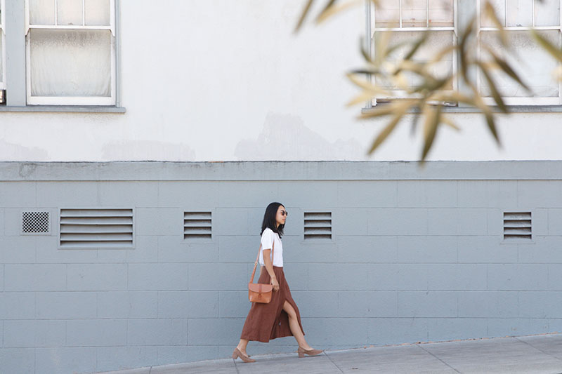 Sarina in her hometown of San Francisco, CA wearing the Belu Pump with a vintage blouse and skirt by First Rite Clothing.