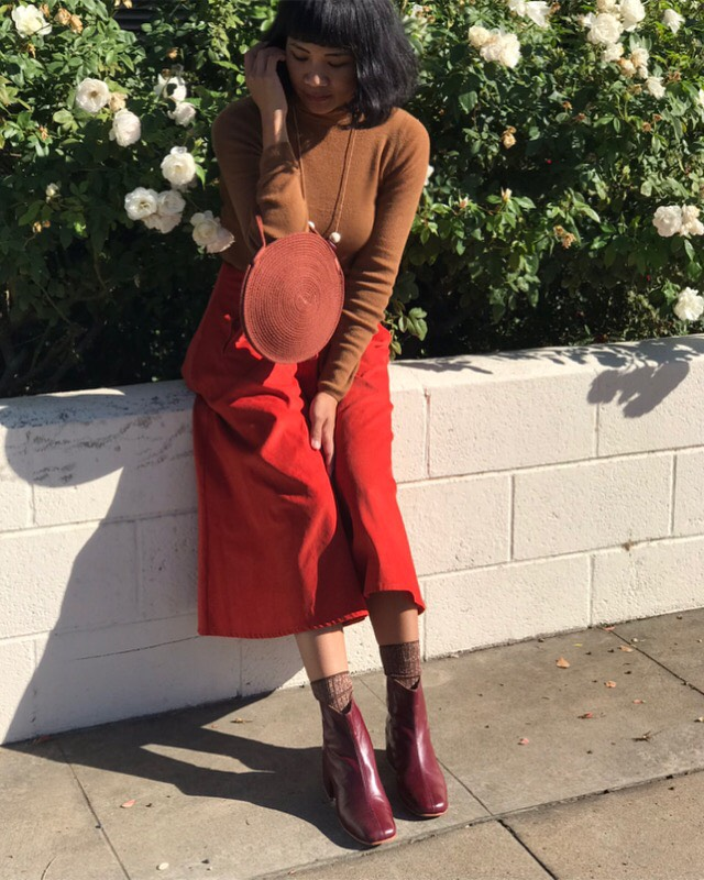 Melissa wears the Beia Boot in Mulberry