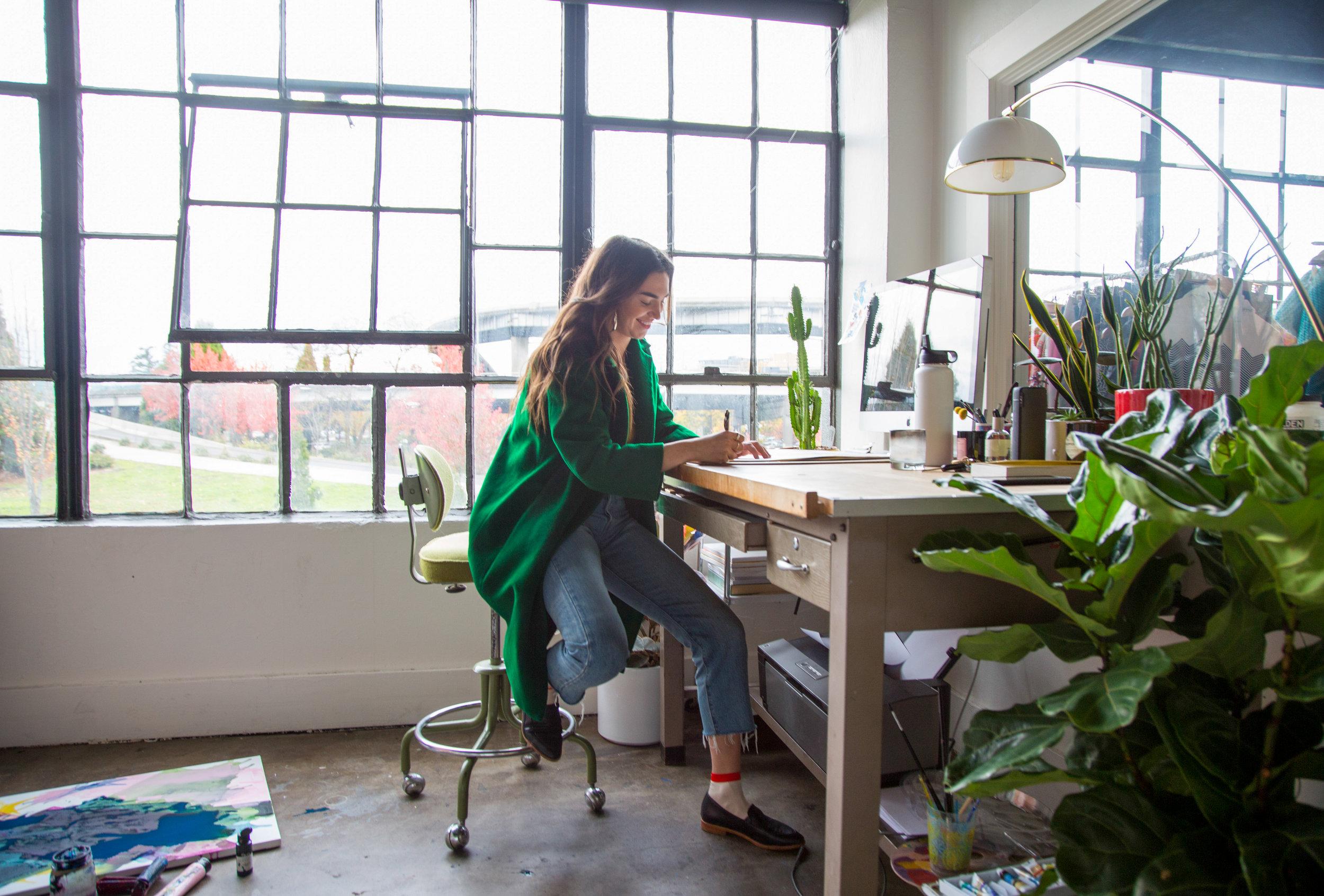 Maja Dlugolecki working in her Portland studio