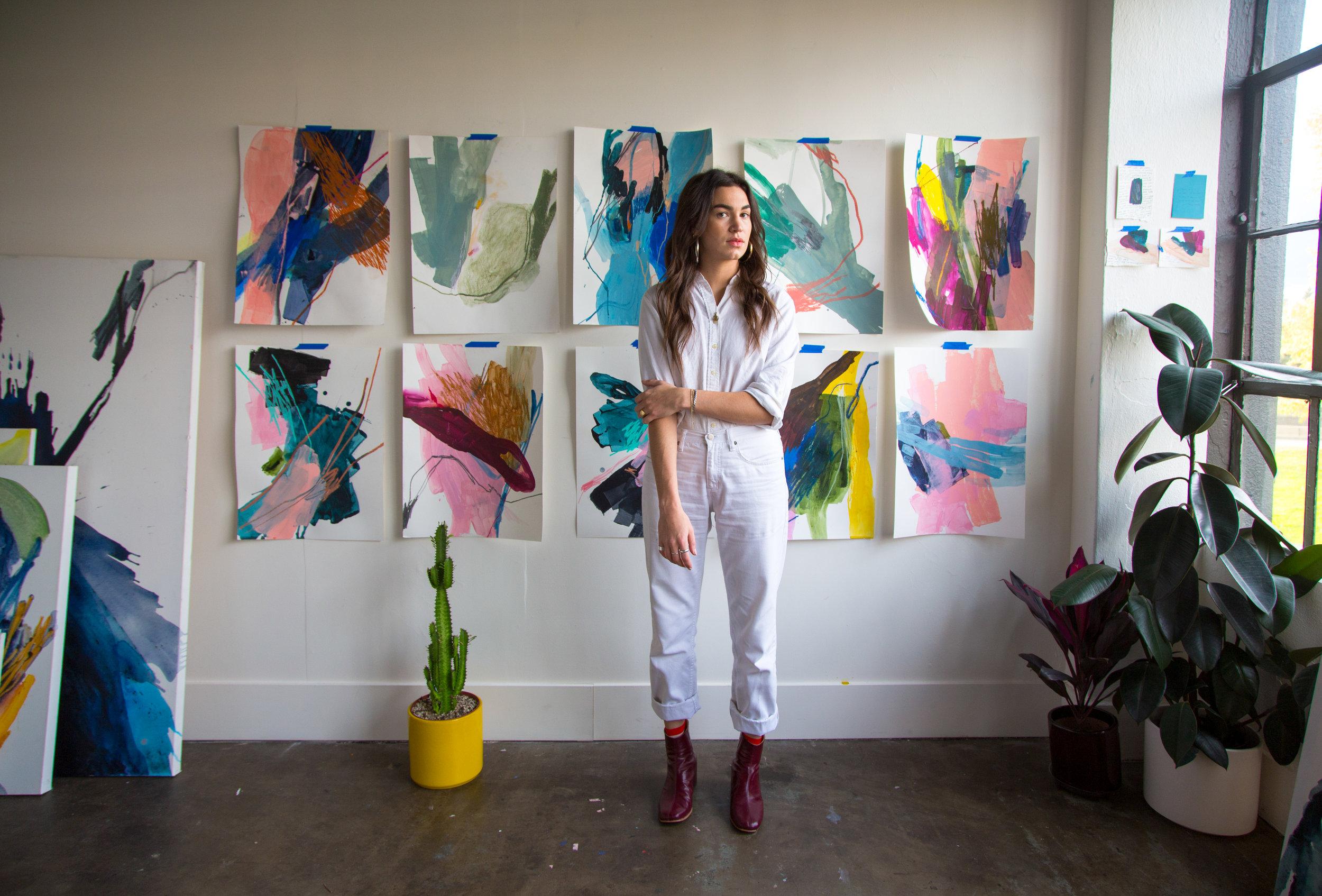 Maja Dlugolecki in her Portland Studio wearing the Beia Boot in Mulberry