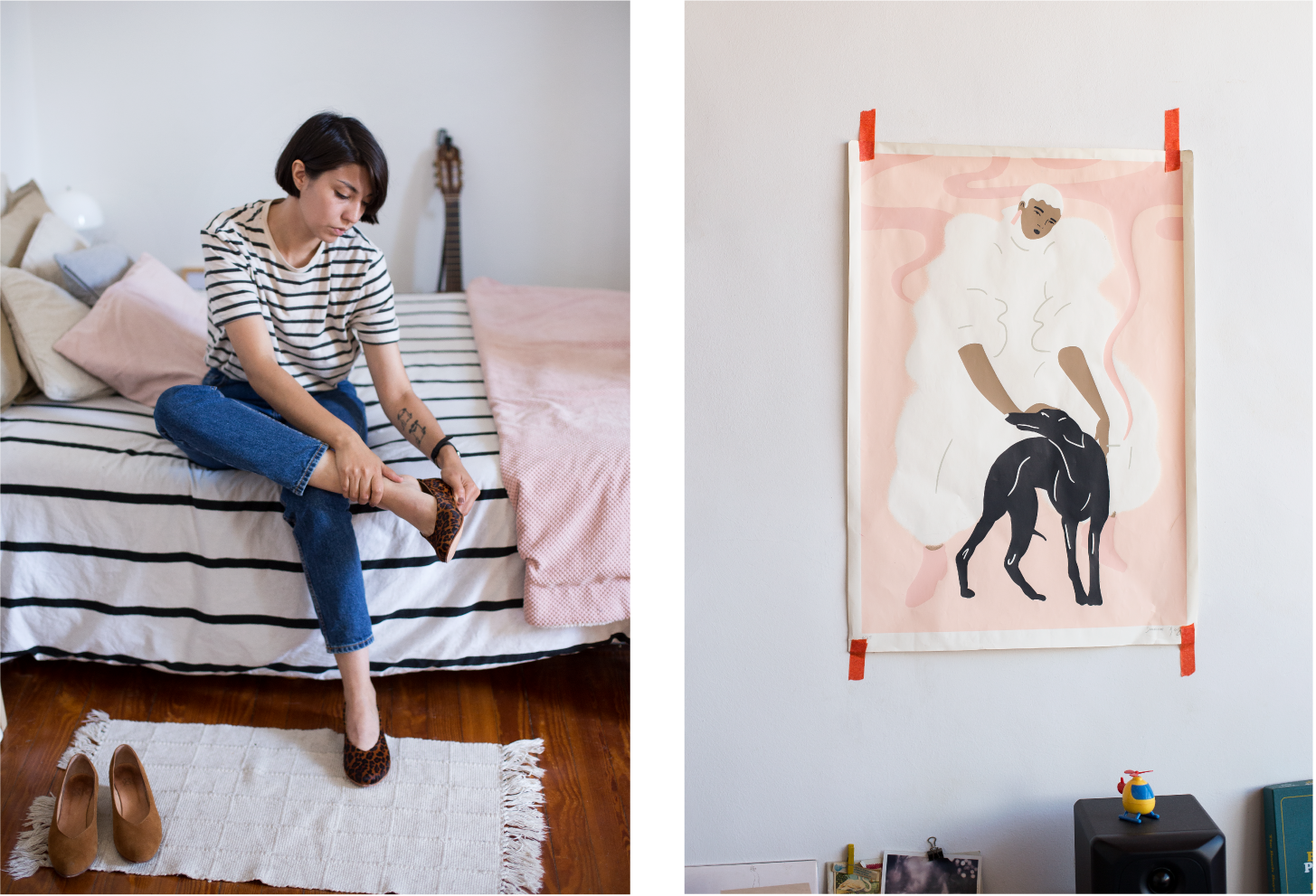 Left: Daiana's eye for pattern and space is evident in her wardrobe and home; Above she tries on the Glove Flat in Leopard. Right: A wall in her studio simply adorned with some of her work.