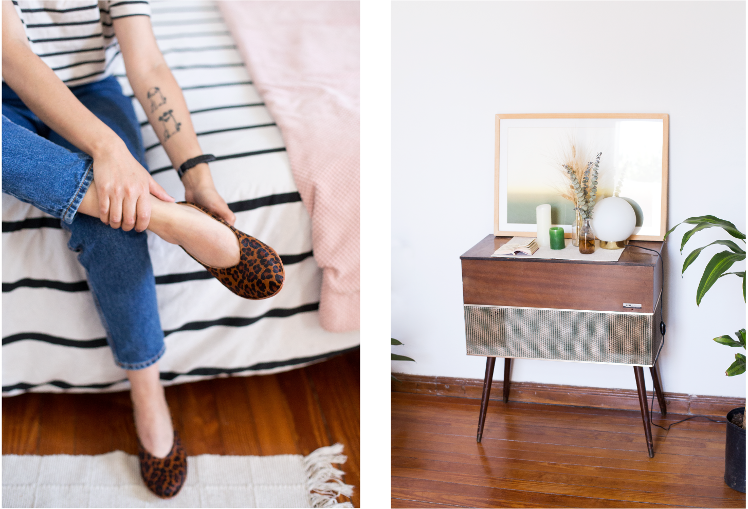Left: Daiana trying on the Glove Flat in Leopard Pony. Right: Objects neatly arranged on a midcentury modern style record player console.