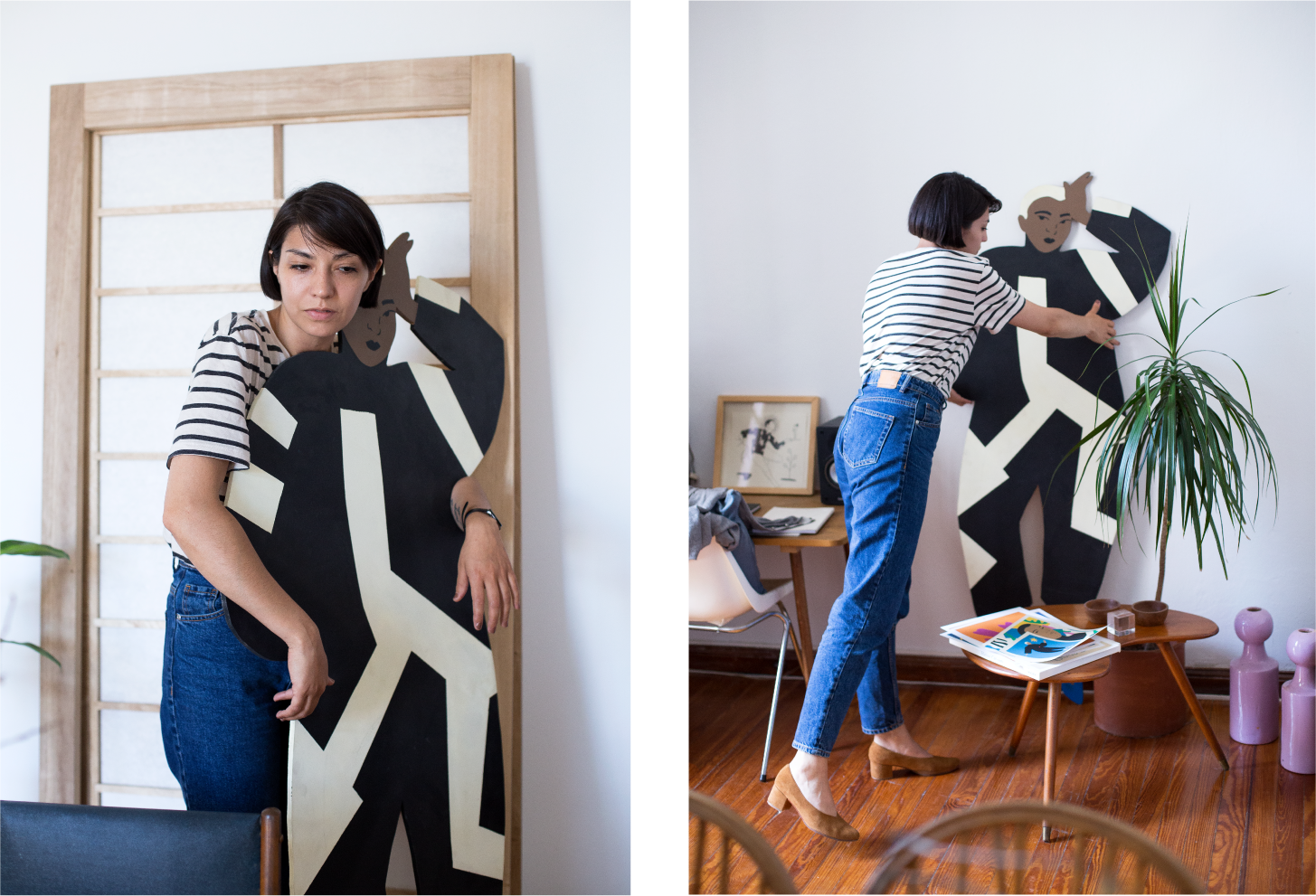 Left: Daiana with a life-sized version of one of her illustrations from a past show. Right: Daiana rearranging objects in a simply decorated corner of her loft apartment wearing the ZX Belu Pump from a past season.