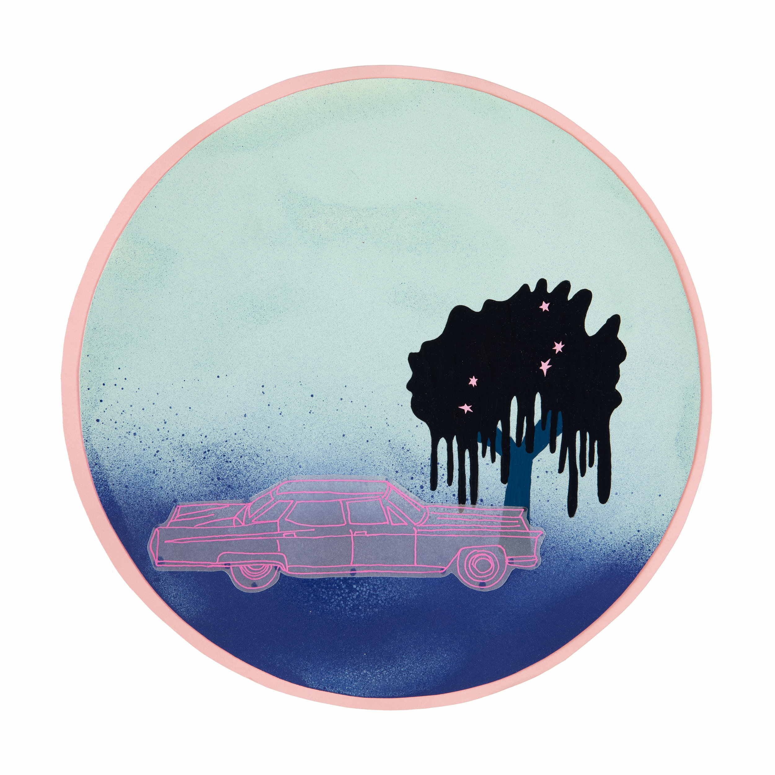 "Pink Cadillac Dream   Mixed media on paper, 8 ½"" diameter, 2019"