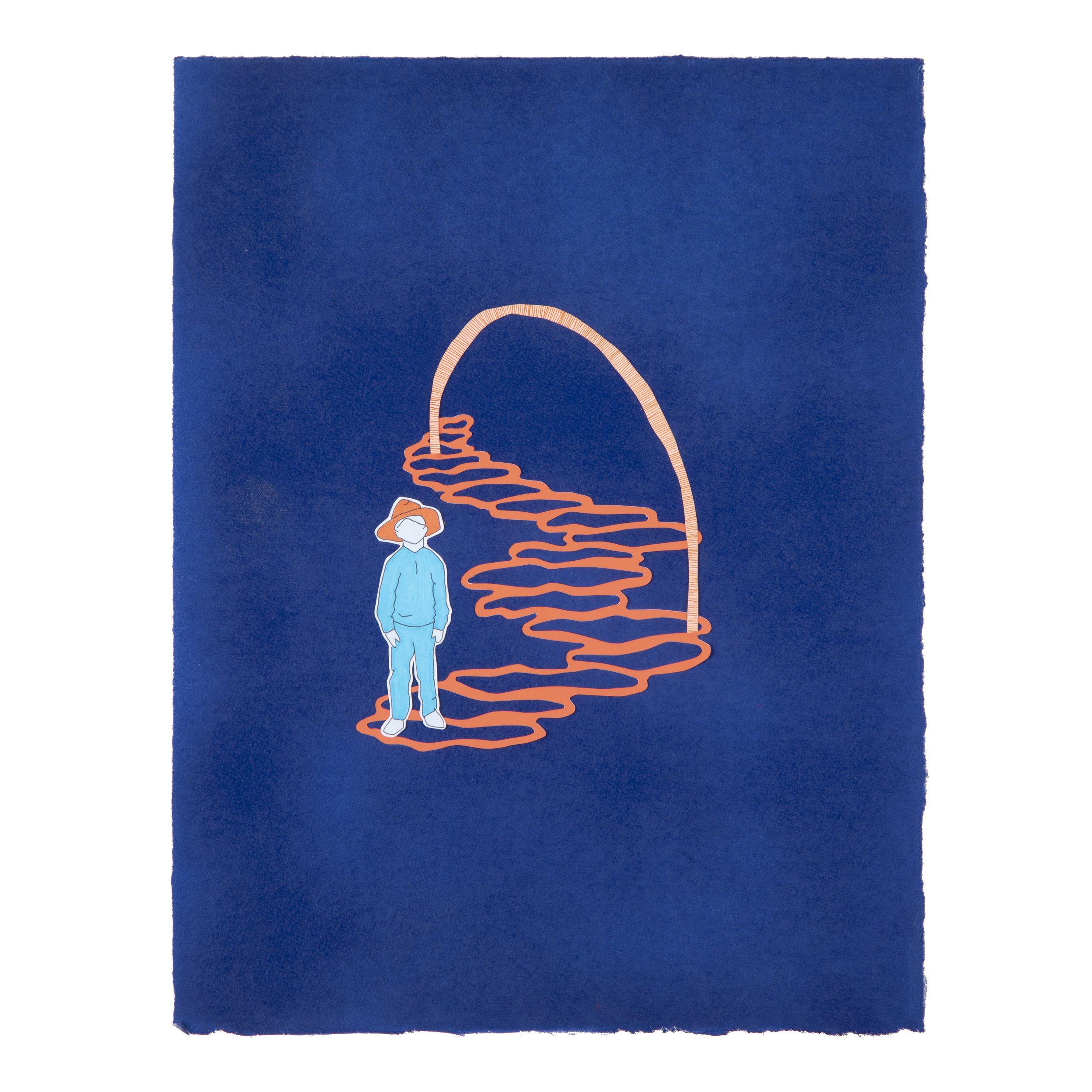"Cowboy Ed (Orange and Blue 1)   Mixed media on paper, 10"" x 13"", 2019"