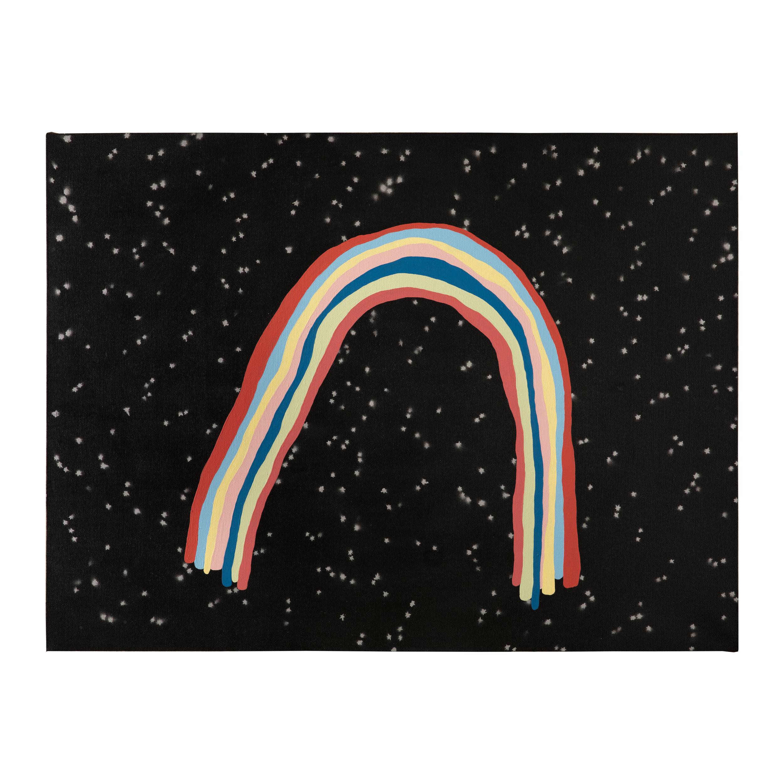 """Night Rainbow   Mixed media on linen, 31"""" x 41"""", 2019"""