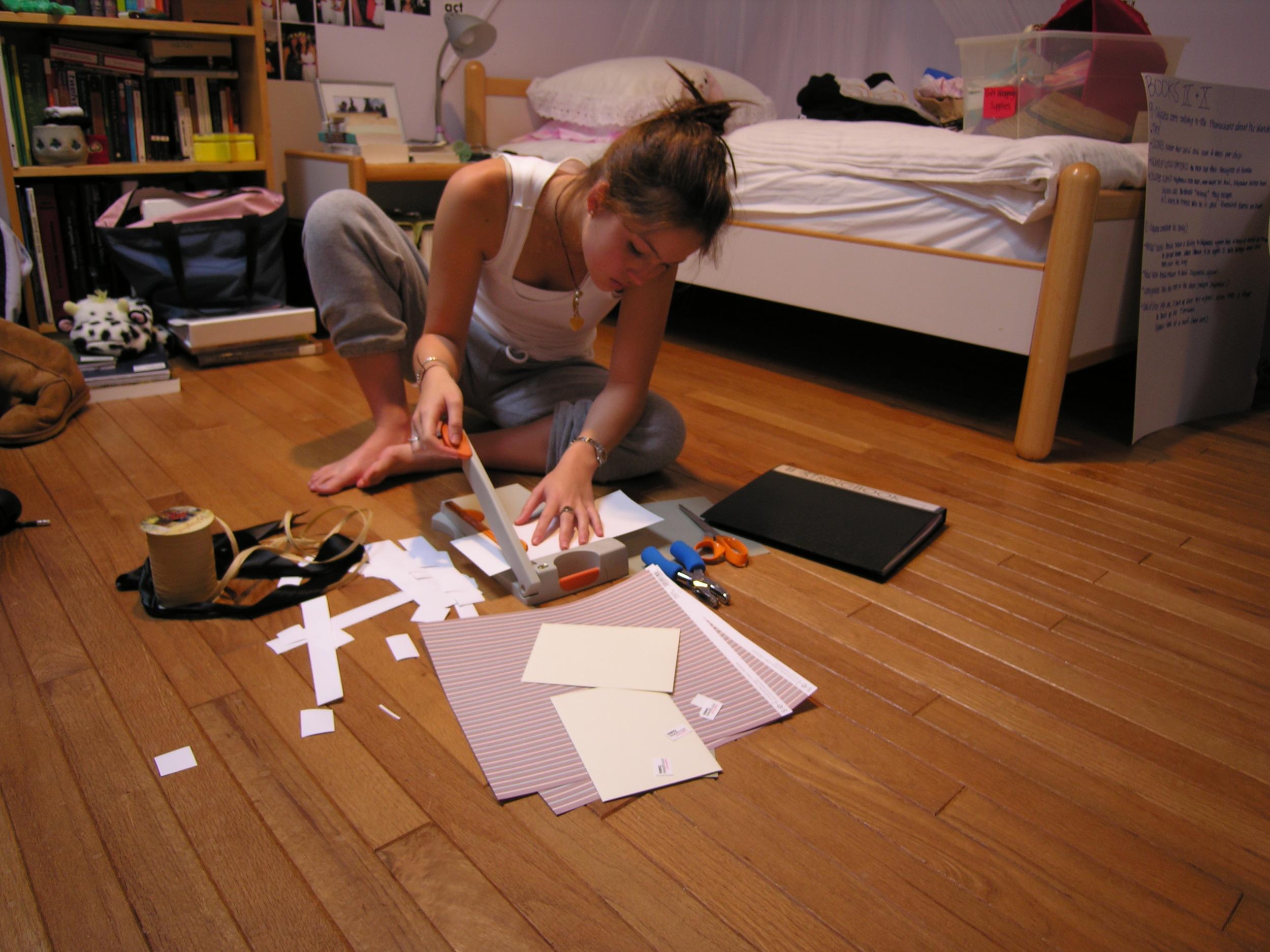 2005: Avoiding homework, making stationery