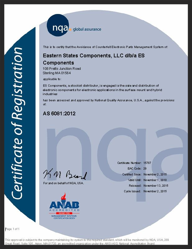 ES Components AS6180 Certification